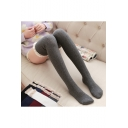 Girls Lovely Lace-Trimmed Retro Cable Knit Over the Knee Stockings