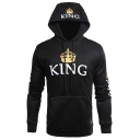 New Fashion Popular Letter KING QUEEN Crown Printed Black Fitted Hoodie for Couple