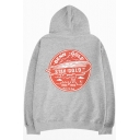 Unique Circle Letter Print Fashion Long Sleeve Relaxed Slouch Cotton Hoodie
