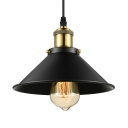 Industrial Wrought Iron 1 Light Mini Pendant Light in Railroad Shade 9'' Wide for Barn Pool Table Kitchen