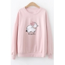 Crewneck Long Sleeve Round Neck Cute Cartoon Bunny Letter Printed Bow Patch Leisure Pullover Sweatshirt
