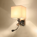 Single Light Square Wall Sconce with 2 Spotlight Stylish Modern White Fabric Shade Wall Light