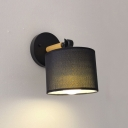 Rotatable 1 Light Drum Sconce Light Simple Concise Wall Lamp with Black Fabric Shade