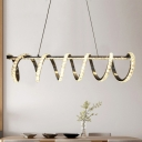 Modernism Swirl Hanging Lamp Crystal LED Chandelier Lamp in Warm/White for Dining Room