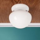 Modernism Mushroom Style Flushmount with White Glass Shade Single Head Ceiling Flush Mount