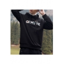 Basic Simple Floral Letter Printed Loose Fitted Pullover Black Hoodie for Boys
