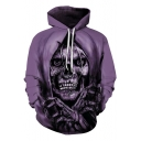 3D Purple Beatles Skull Printed Long Sleeve Loose Chunky Hoodie for Men