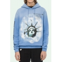 New Trendy Fashion Letter OFF Statue Of Liberty Printed Loose Fitted Drawstring Hoodie for Guys