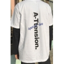 Stylish Letter A-TTENSION Printed Round Neck Short Sleeve Loose Casual Vintage Cotton T-Shirt