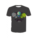 Men's Cool 3D Alien Printed Crewneck Short Sleeve Fitted Black T-Shirt