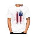 Funny American Flag Printed Crewneck Short Sleeve Men's Loose White T-Shirt