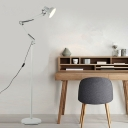 1 Head Arm Adjustable Floor Lamp Modernism Metallic Standing Light in White for Bedroom