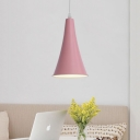 Macaron Nordic Trumpet Pendant Light Metal Single Head Suspended Lamp for Children Room