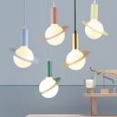 Macaron Modern Orbit Lighting Fixture Glass 1 Light Drop Ceiling Lighting for Children Room