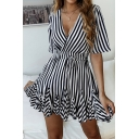 Fancy Striped Printed Short Sleeve V-Neck Drawstring Waist Wrinkled Hem Mini A-Line Dress