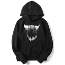 Men's Popular Mouth Printed Long Sleeve Loose Fit Pullover Hoodie