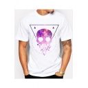 Unique Awesome Triangle Skull Print Men's Short Sleeve White T-Shirt