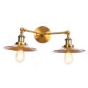 Shallow Round Flared Sconce Light Retro Style Iron 2 Bulbs Wall Lamp in Brass Finish