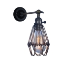 Bronze Finish Wire Guard Wall Lamp Vintage Wrought Iron 1 Bulb Wall Light Fixture for Corridor