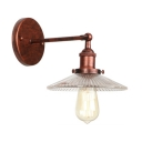 Rust Finish Scalloped Wall Lighting Retro Style Clear Glass 1 Head Wall Sconce for Restaurant