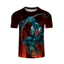 Cool 3D Comic Venom Pattern Round Neck Short Sleeve Red Fitted T-Shirt