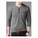 Men's Casual Cotton Simple Plain Long Sleeve Henley Shirt