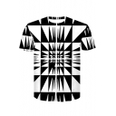 Cool 3D Black and White Geometric Print Short Sleeve Basic Casual T-Shirt