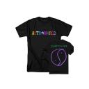 Popular Colorful Letter ASTROWORLD Print Black Short Sleeve T-Shirt