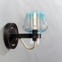 Aqua Faded Glass Tapered Sconce Light Contemporary Single Head Wall Lighting for Bedside