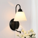 Curved Arm Wall Light with Bird Decoration Lodge Style Fabric Shade 1 Head Wall Mount Light in Black/White
