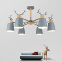 Macaron Gray Antler Chandelier Light Metal 3/6 Lights Decorative Suspended Light for Baby Kids Room