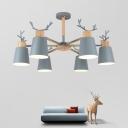 Macaron Gray Antler Chandelier Light Metal 3/6 Lights Decorative Suspended Light for Baby Kids Room
