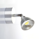 Arm Adjustable Wall Mount Fixture Modernism Plastic Single Head Spotlight in Silver for Office