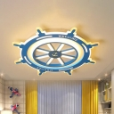 Nautical Style Round Rudder Flushmount Boys Bedroom Acrylic LED Flush Ceiling Light in Blue