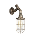 Water Pipe Wall Light with Metal Cage Industrial 1 Light Sconce Light in Antique Bronze