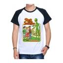 Letter DON'T TALK TO STRANGERS Cartoon Character Print Colorblock Raglan Sleeve White T-Shirt