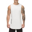 Men's Simple Plain Zip-Embellished Running Breathable Cotton Quick Dry Loose Muscle Tank Top
