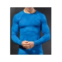 Men's Fashion 3D Printed Round Neck Long Sleeve Bodybuilding Quick-Dry Training Tight T-Shirt