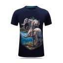 New Stylish 3D Three Elephant Printed Short Sleeve Slim Fitted T-Shirt for Men