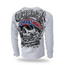 Awesome Letter Skull Printed Breathable Cotton Gym Running Long Sleeve T-Shirt for Guys