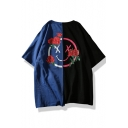 Summer Cotton Floral Smile Face Printed Loose Fit Colorblock Blue and Black T-Shirt