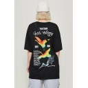 Street Style Cool Letter Crane Printed Summer Cotton Oversized Graphic Tee