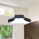 Can Be Spliced Geometric Chandelier Black Finish Modern Simple Style Acrylic LED Hanging Pendant Light