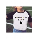 Letter SMELLY CAT Note Pattern Fashion Color Block Short Sleeve Crewneck Casual White T-Shirt
