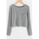 Gray Round Neck Long Sleeve Pocket Chest Simple Plain Cropped Knit T-Shirt