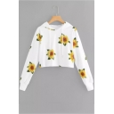 Fashion Sunflower Pattern Long Sleeve White Cropped Hoodie