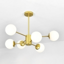 Branching Ceiling Lamp Designers Style Modern Frosted Glass 6 Light Art Deco Chandelier