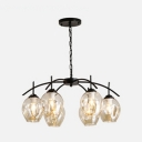 6 Light Bubble Hanging Light Industrial Cognac Glass Ceiling Light with Adjustable Chain