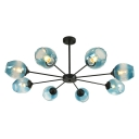 Blue Faded Glass Bubble Chandelier Modernism Multi Light Art Deco Suspended Lamp