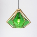 Green Glass Geometric Hanging Lamp Contemporary Accent Suspended Light for Restaurant